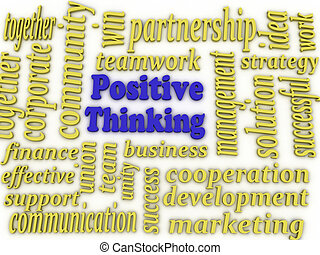 3d image Positive Thinking concept word cloud background