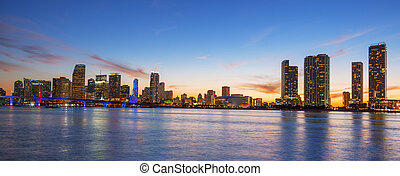 Panoramic view of Miami at sunset, USA