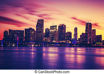 View of Miami at sunset, special photographic processing,...