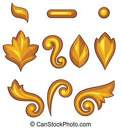 ornamental, Conjunto, elementos, oro,  floral, barroco