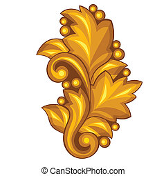 Baroque ornamental antique gold element on white background.