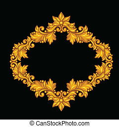 Baroque ornamental antique gold frame on black background.