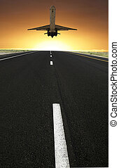 airplane composing with sunset and road