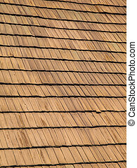 Wooden roof - Brown wooden roof made of shingles, background