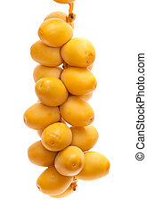 fresh date fruit isolated on white - fresh undried date...