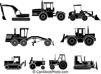 Heavy machines in black and white. - Set simple icon of...