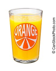Orange Juice Glass isolated on a white background with a...