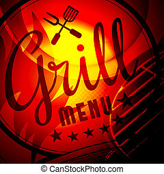 Barbecue grill  illustration on fire background