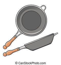 Frying pans (side and top view) isolated on a white...