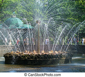 Peterhof,  fountains in the Lower Park