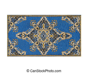 blue carpet - blue persian carpet isolated on white...