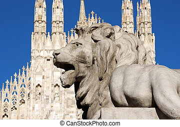 Stone lion in Piazza Duomo, Milan - Stone lion from the...