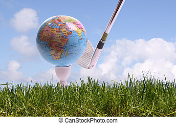 WORLD GOLF - Golfball in gras is going to hit by a golfclub