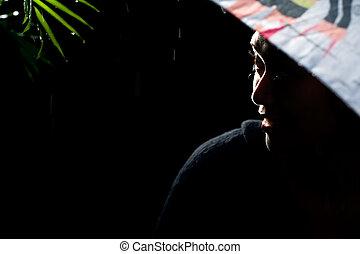 umbrella woman in the dark