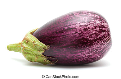 eggplant isolated on white - stripy eggplant isolated on...
