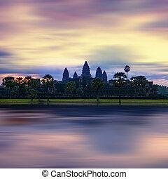 Panorama view of Angkor Thom temple at sunset. Angkor Wat...
