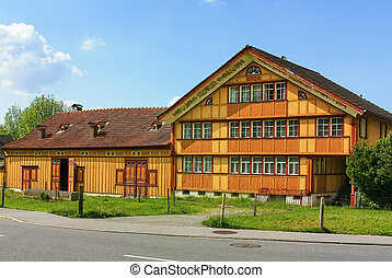 Appenzell, Switzerland - Wooden house in the local style in...