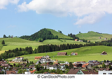 Appenzell, Switzerland - view of Appenzell city and the...
