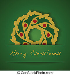Christmas gold garland applique on green background -...