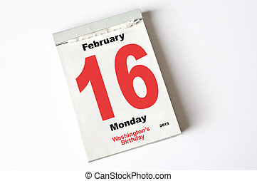 16 February 2015 Wahingtons Birthday - calendar sheet 16...