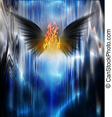 Black winged being of fire