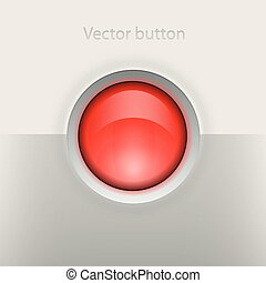 Glossy empty button Interface vector element on grey...