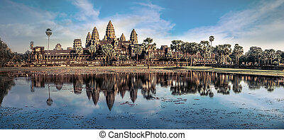 Amazing view of Angkor Thom temple under blue sky. Angkor...
