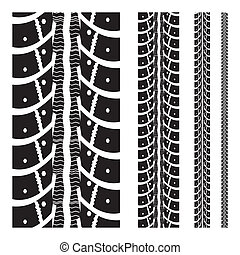 Tire tracks collection with different width. illustration on...