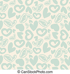 Fun seamless vintage love heart background in pretty colors...