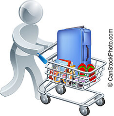 Shopping for a vacation concept, a person pushing a shopping...
