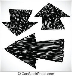 Hand drawn arrows, sketch illustration