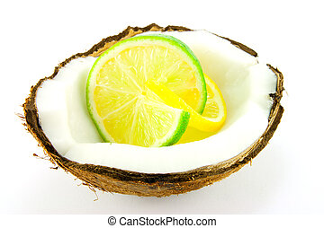 Lemon and Lime Slice in a Coconut - Slice of lemon and lime...