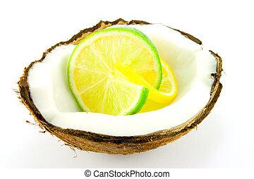 limão, lima, fatia, coco