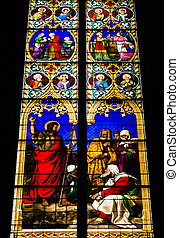 COLOGNE, GERMANY - SEPTEMBER 21: Stained glass church window...