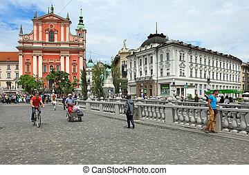 LJUBLJANA, SLOVENIA - May 28 , 2014:Romantic medieval Old...