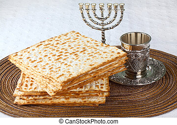 Matzah on Plate - Closeup of Matzah on Plate which is the...