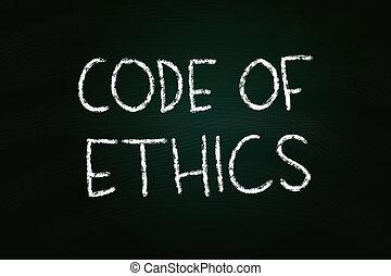 Code of Ethics illustration of chalk writing on blackboard