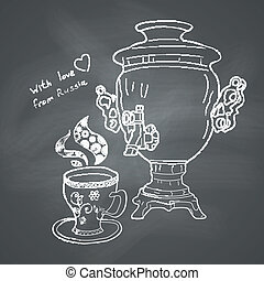 Russian samovar and cup. Vector skethnote design on...