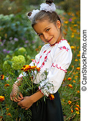 girl dressed in Ukrainian folk costume - little girl dressed...