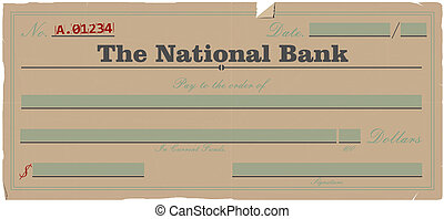Vintage blank check. Vector base for further editing. One...