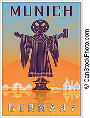Munich vintage poster - Munich Vintage poster in orange and...
