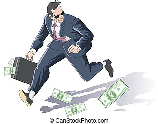 man runs away with the purse dirty - illustration
