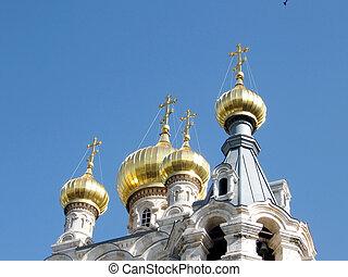 Jerusalem gold Domes of Church St. Maria Magdalena 2008