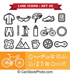 Bicycle Line icons set 45 .Illustration eps 10