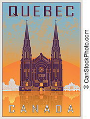 Quebec vintage poster - Quebec Vintage poster in orange and...