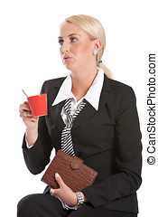 Bored business woman - Attractive young businesswoman...