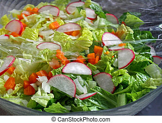 Fresh Garden Salad - Colorful Garden Salad covered with...