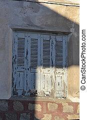 kefalos, dom, okno, stary, zrujnowany
