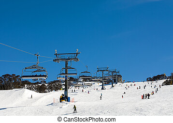 Snow Skiers - Snow skiers at Perisher Valley, Kosciuszko...