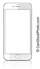 ew Silver Smartphone with blank screen - Smartphone with...